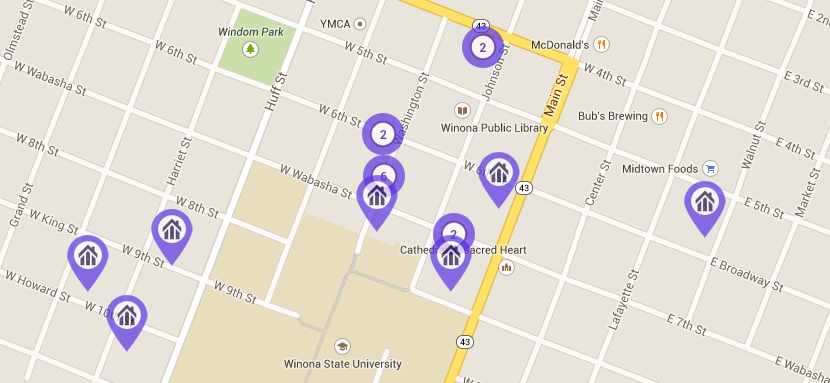 map of student apartments